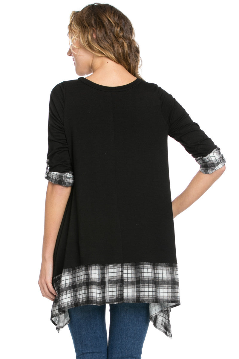Basic & Plaid Tunic Black - Tunic - My Yuccie - 3