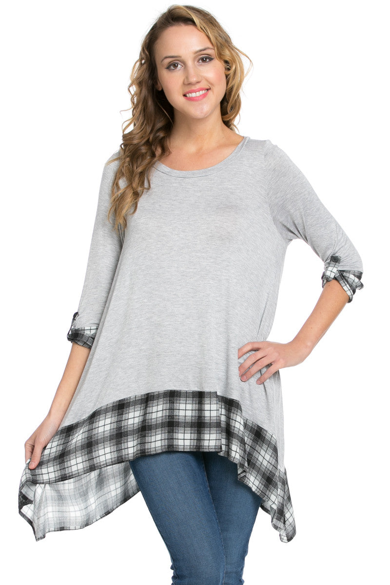 Basic & Plaid Tunic Gray - Tunic - My Yuccie - 1