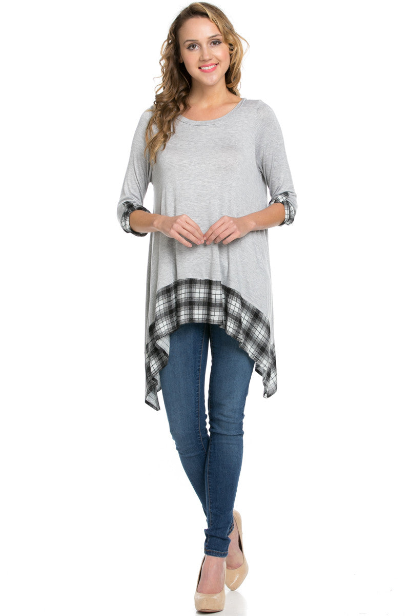 Basic & Plaid Tunic Gray - Tunic - My Yuccie - 4