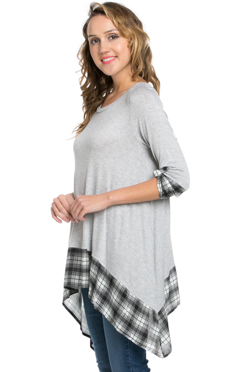 Basic & Plaid Tunic Gray - Tunic - My Yuccie - 2