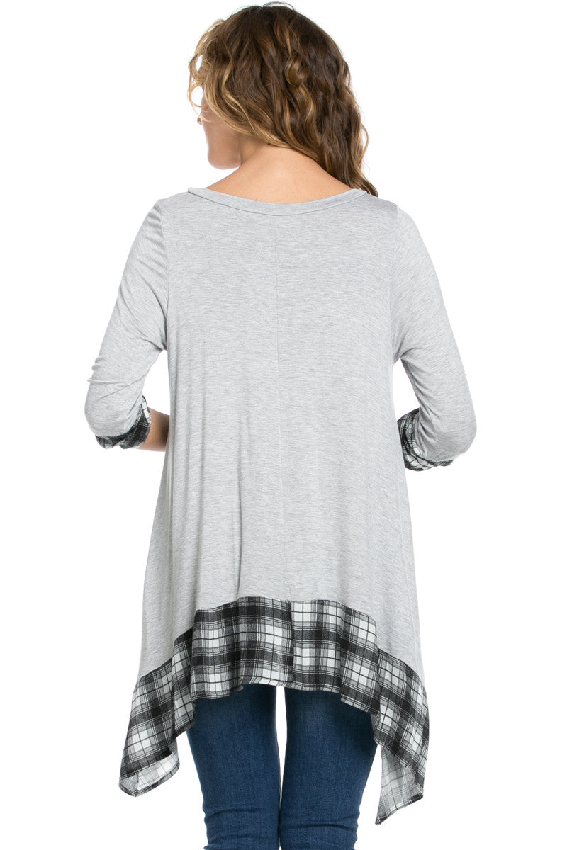 Basic & Plaid Tunic Gray - Tunic - My Yuccie - 3