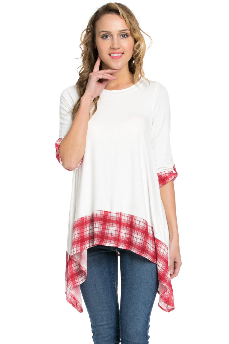 Basic & Plaid Tunic Ivory - Tunic - My Yuccie - 2