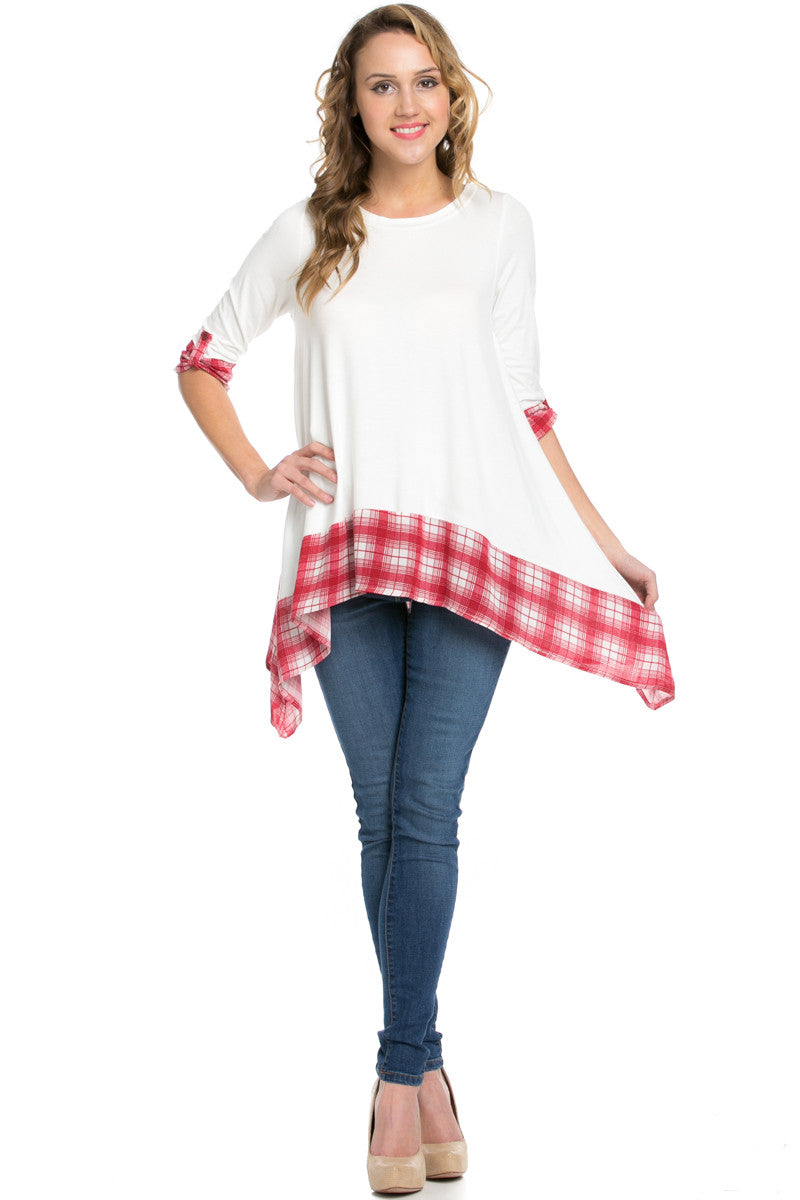 Basic & Plaid Tunic Ivory - Tunic - My Yuccie - 4