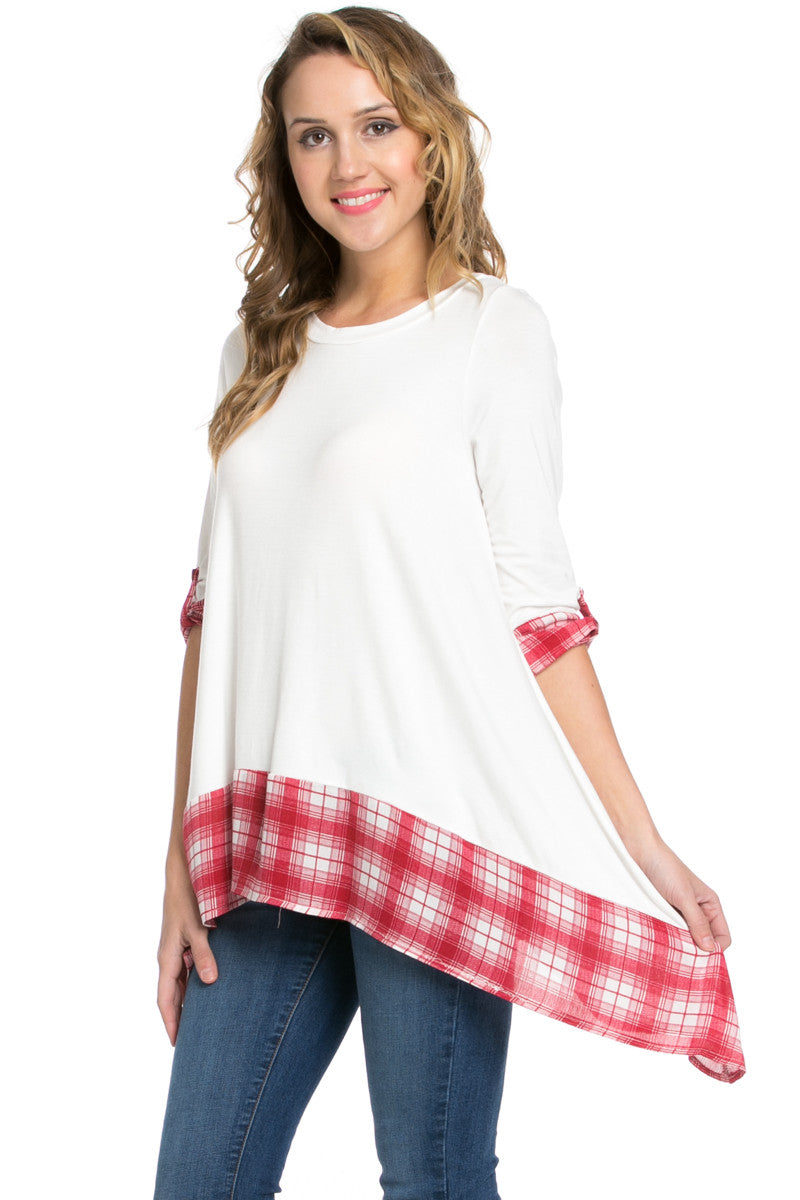 Basic & Plaid Tunic Ivory - Tunic - My Yuccie - 1