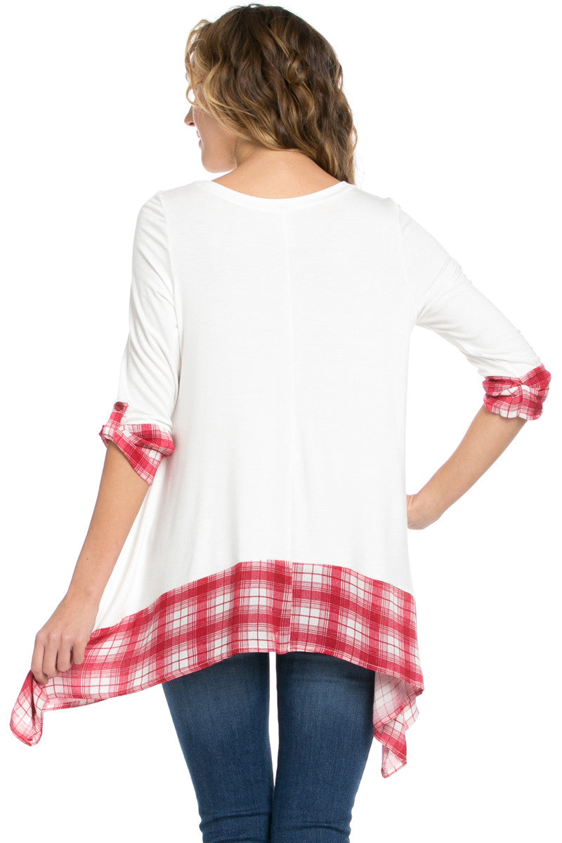 Basic & Plaid Tunic Ivory - Tunic - My Yuccie - 3