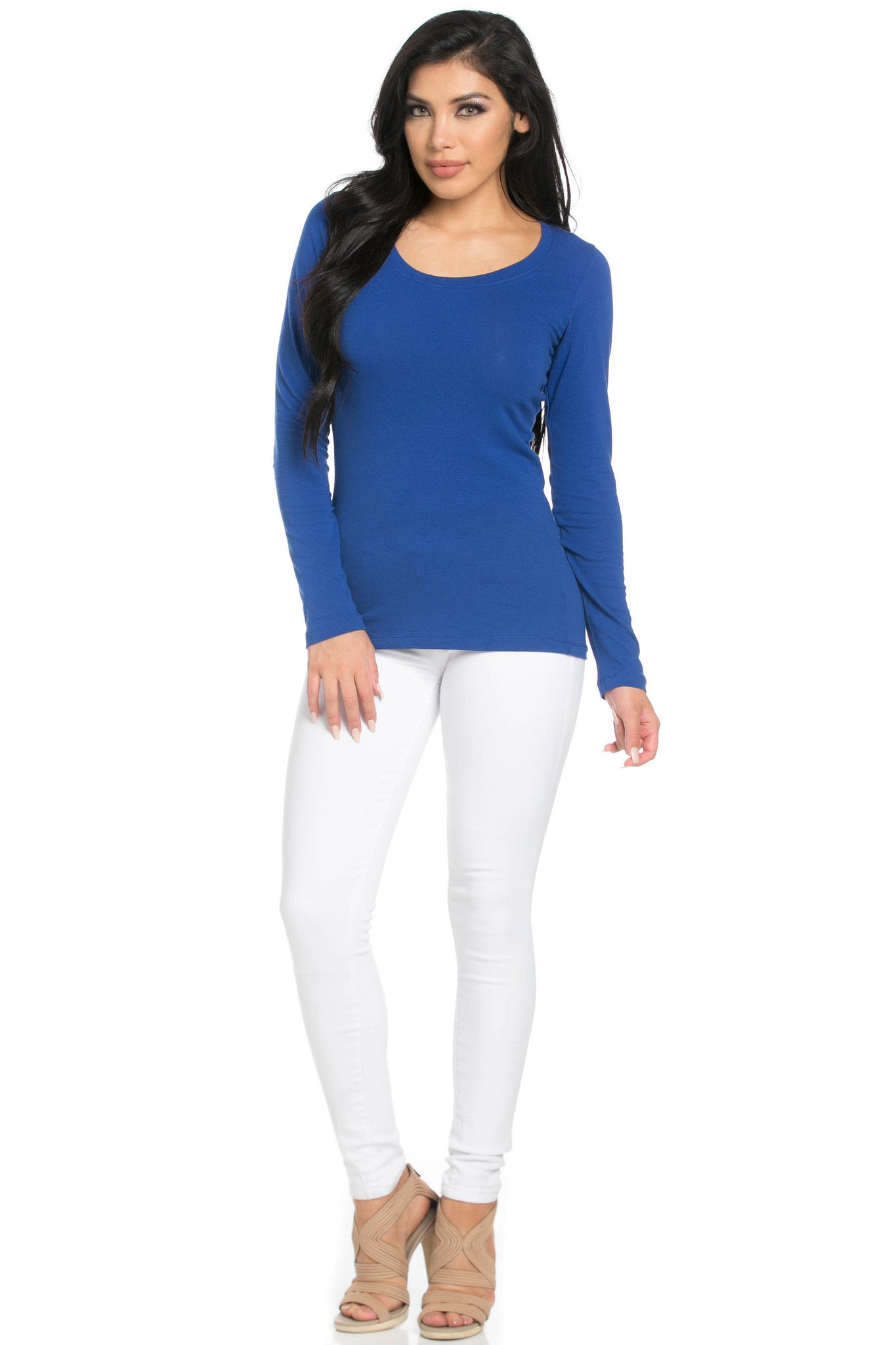Long Sleeve Round Neck Tee Top Royal Blue - Tees - My Yuccie - 4
