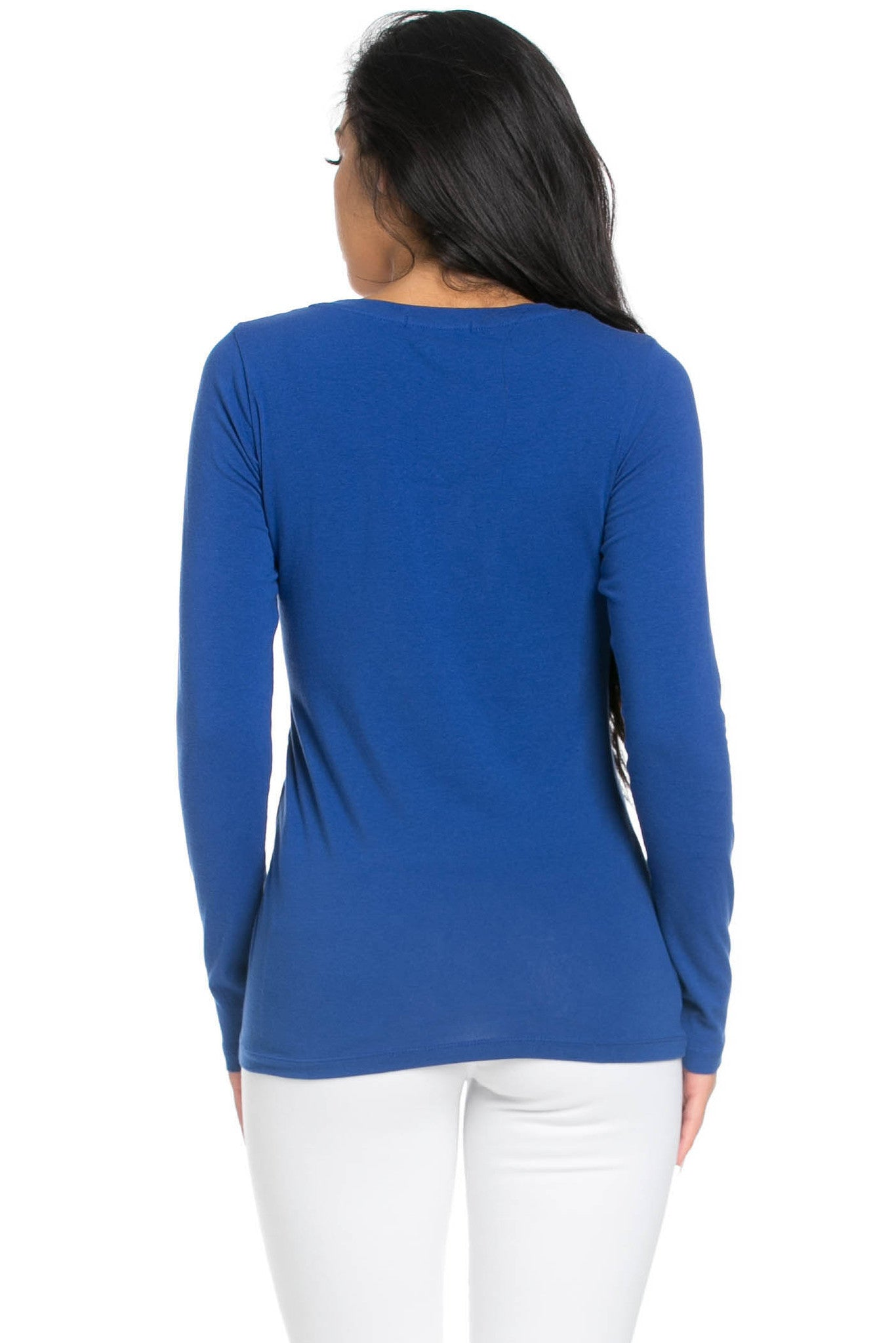 Long Sleeve Round Neck Tee Top Royal Blue - Tees - My Yuccie - 3