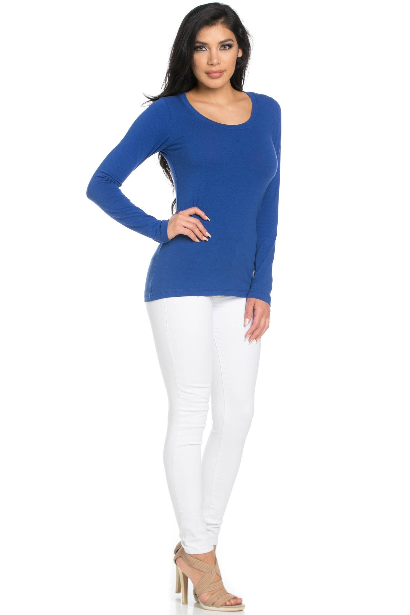 Long Sleeve Round Neck Tee Top Royal Blue - Tees - My Yuccie - 5