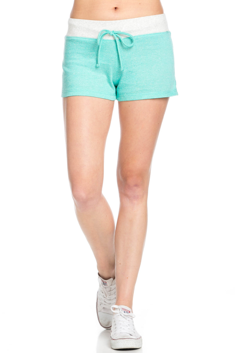 Contrast French Terry Knit Mint Shorts - Shorts - My Yuccie - 1