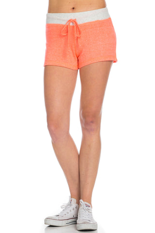 Contrast French Terry Knit Neon Orange Shorts - Shorts - My Yuccie - 1