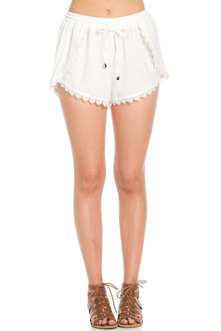Crochet Scalloped Shorts White - Shorts - My Yuccie - 1