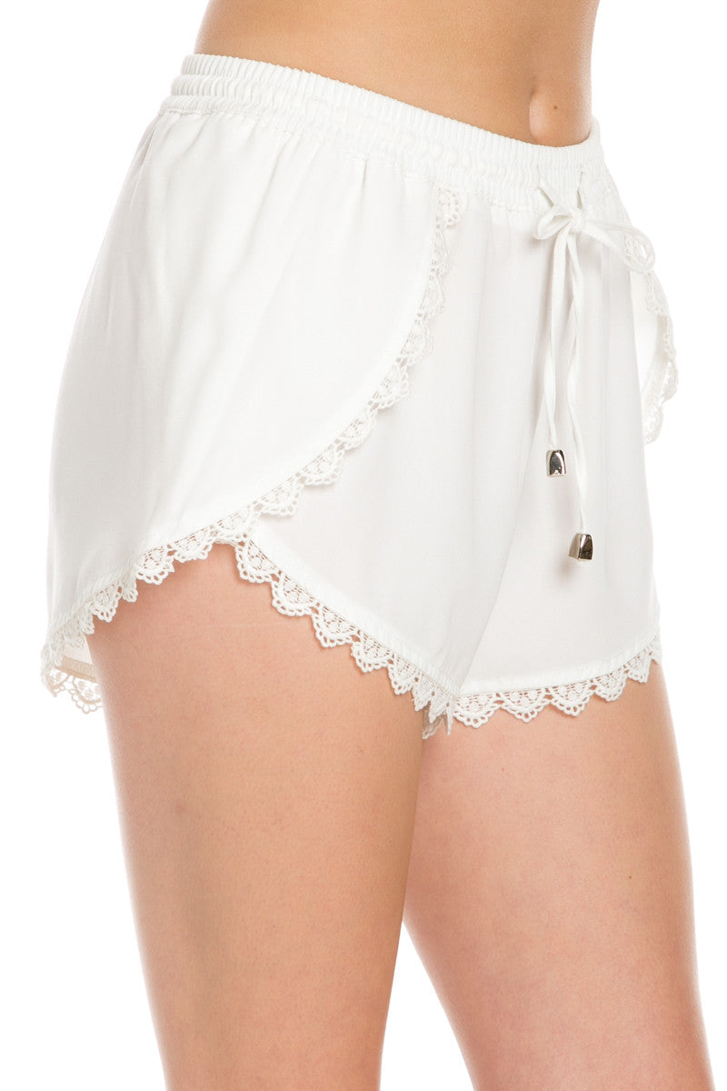 Crochet Scalloped Shorts White - Shorts - My Yuccie - 6