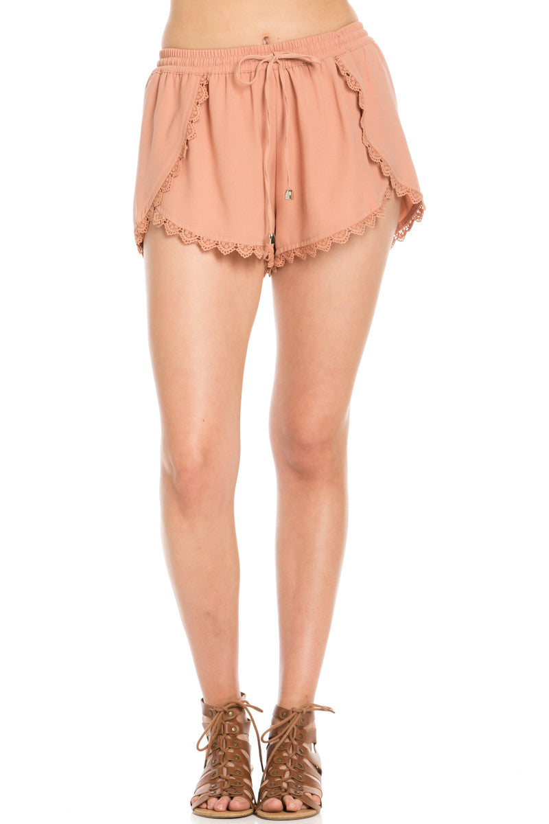 Crochet Scalloped Shorts Tan - Shorts - My Yuccie - 1