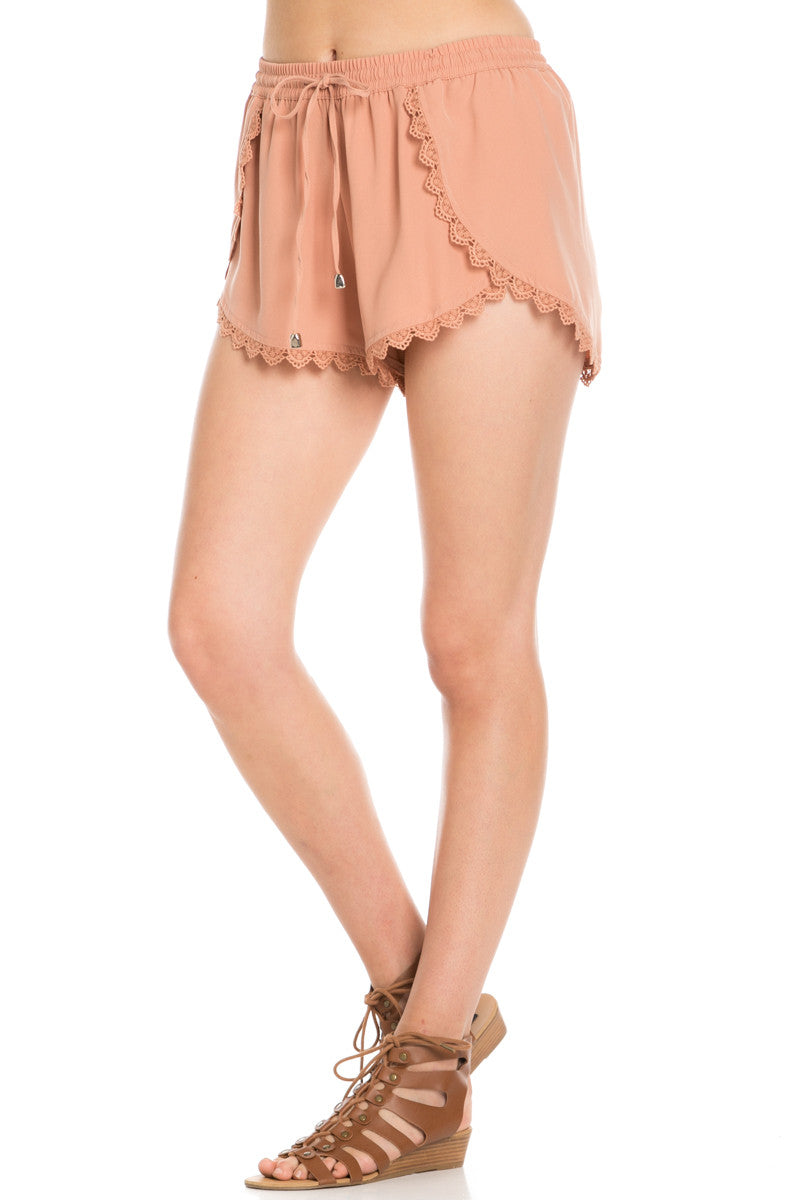 Crochet Scalloped Shorts Tan - Shorts - My Yuccie - 2