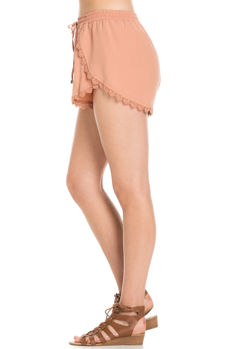 Crochet Scalloped Shorts Tan - Shorts - My Yuccie - 3