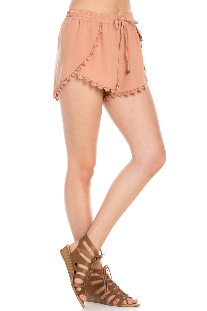 Crochet Scalloped Shorts Tan - Shorts - My Yuccie - 5