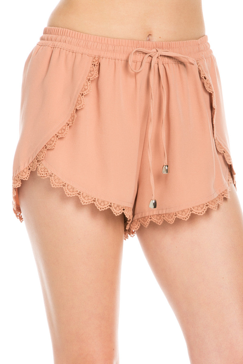 Crochet Scalloped Shorts Tan - Shorts - My Yuccie - 6