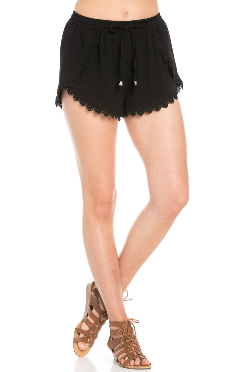 Crochet Scalloped Shorts Black - Shorts - My Yuccie - 1