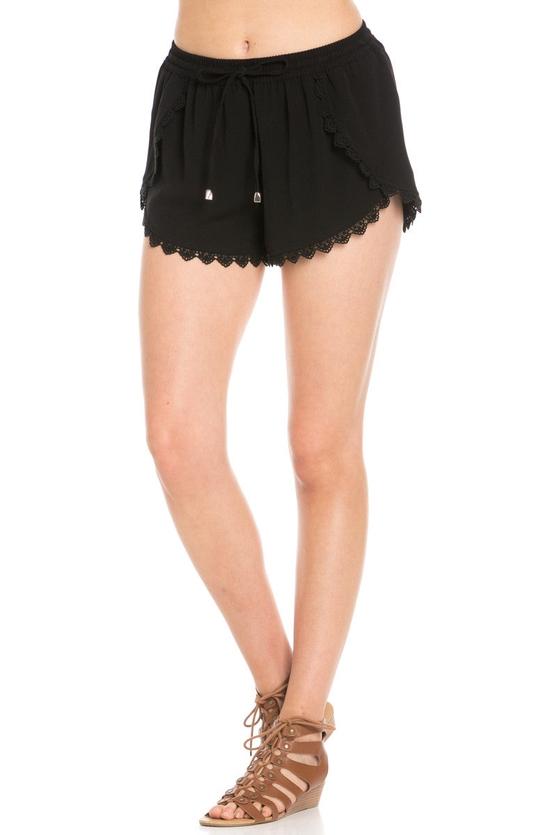 Crochet Scalloped Shorts Black - Shorts - My Yuccie - 2