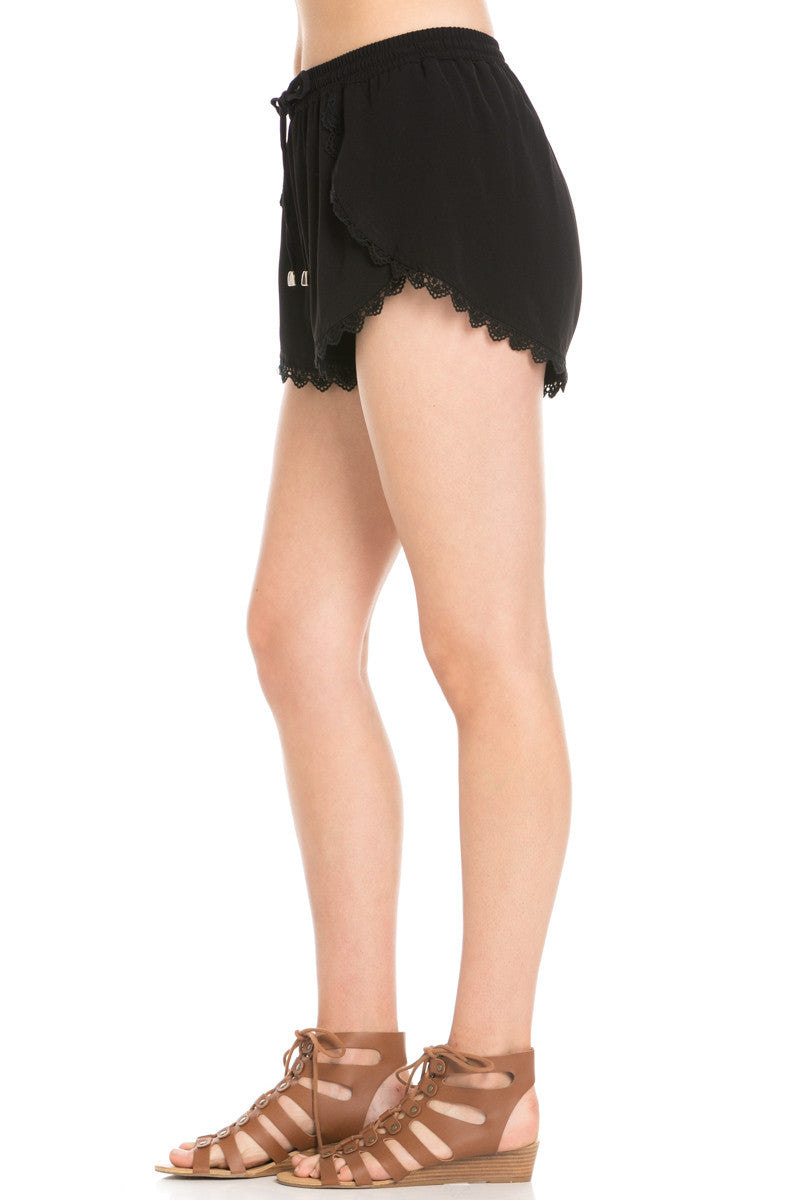 Crochet Scalloped Shorts Black - Shorts - My Yuccie - 3