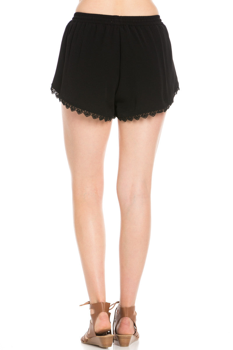 Crochet Scalloped Shorts Black - Shorts - My Yuccie - 4