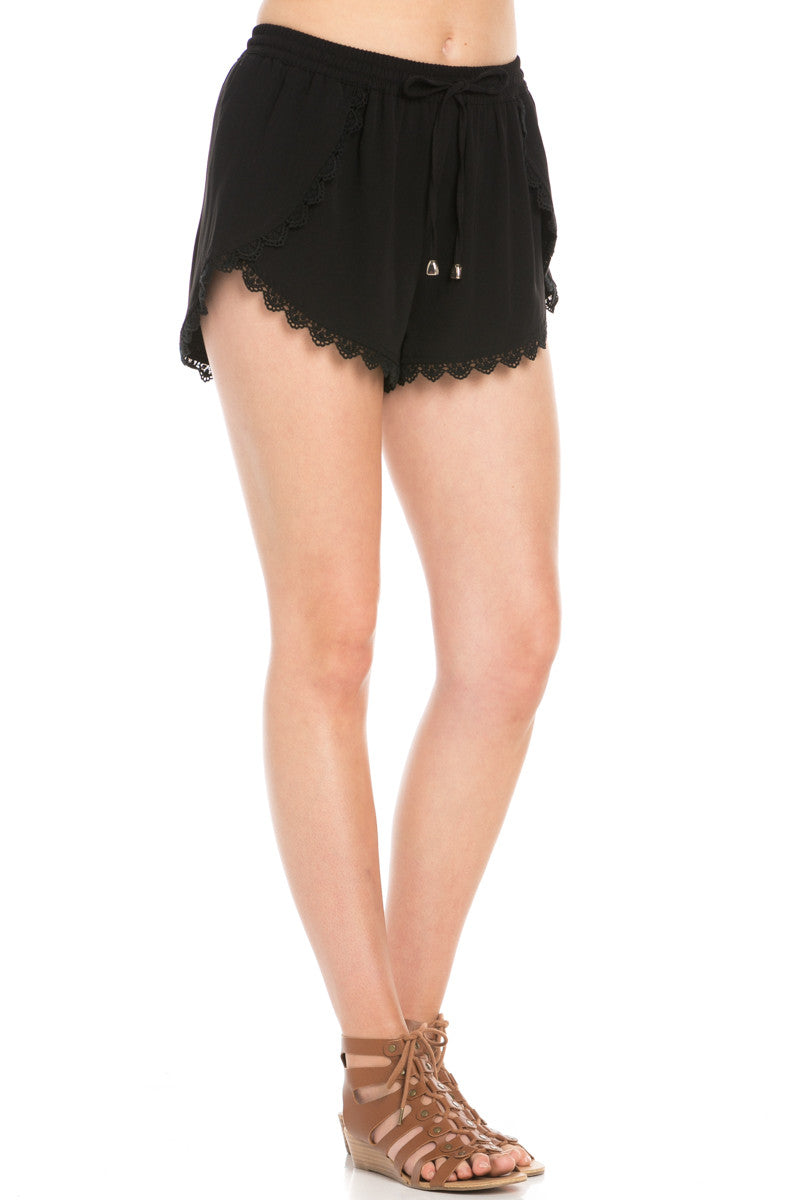 Crochet Scalloped Shorts Black - Shorts - My Yuccie - 5