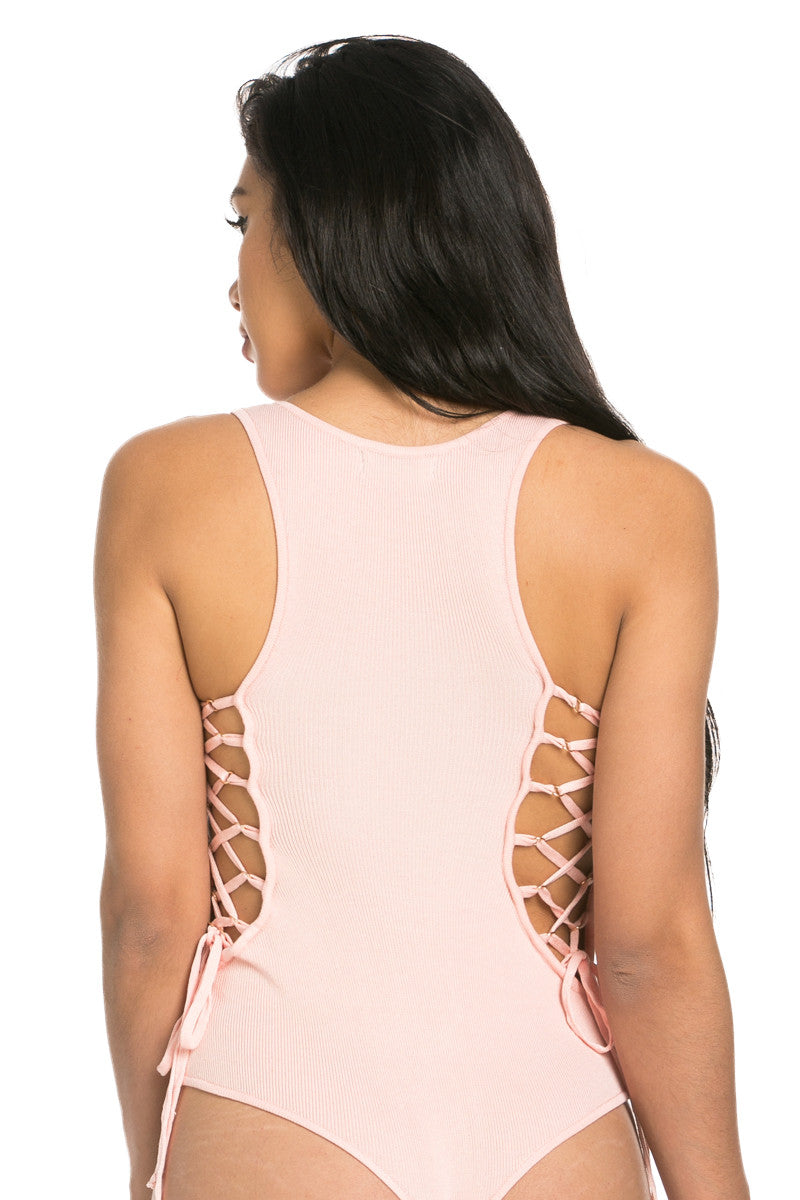 Hera Collection Rib Lace Up Sleeveless Knit Bodysuit Blush - Bodysuit - My Yuccie - 5