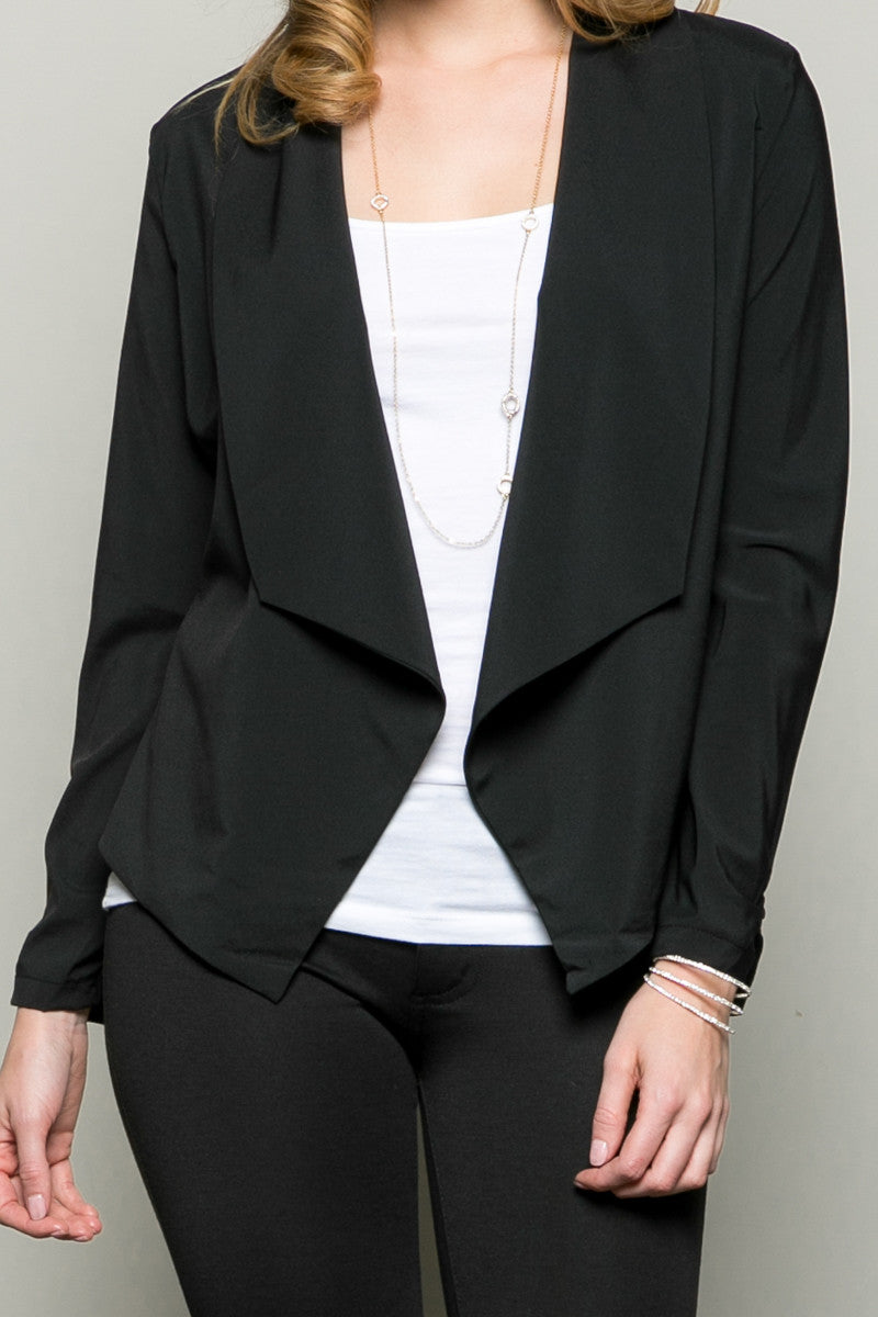 Draped Collar Blazer Black - Jacket - My Yuccie - 4