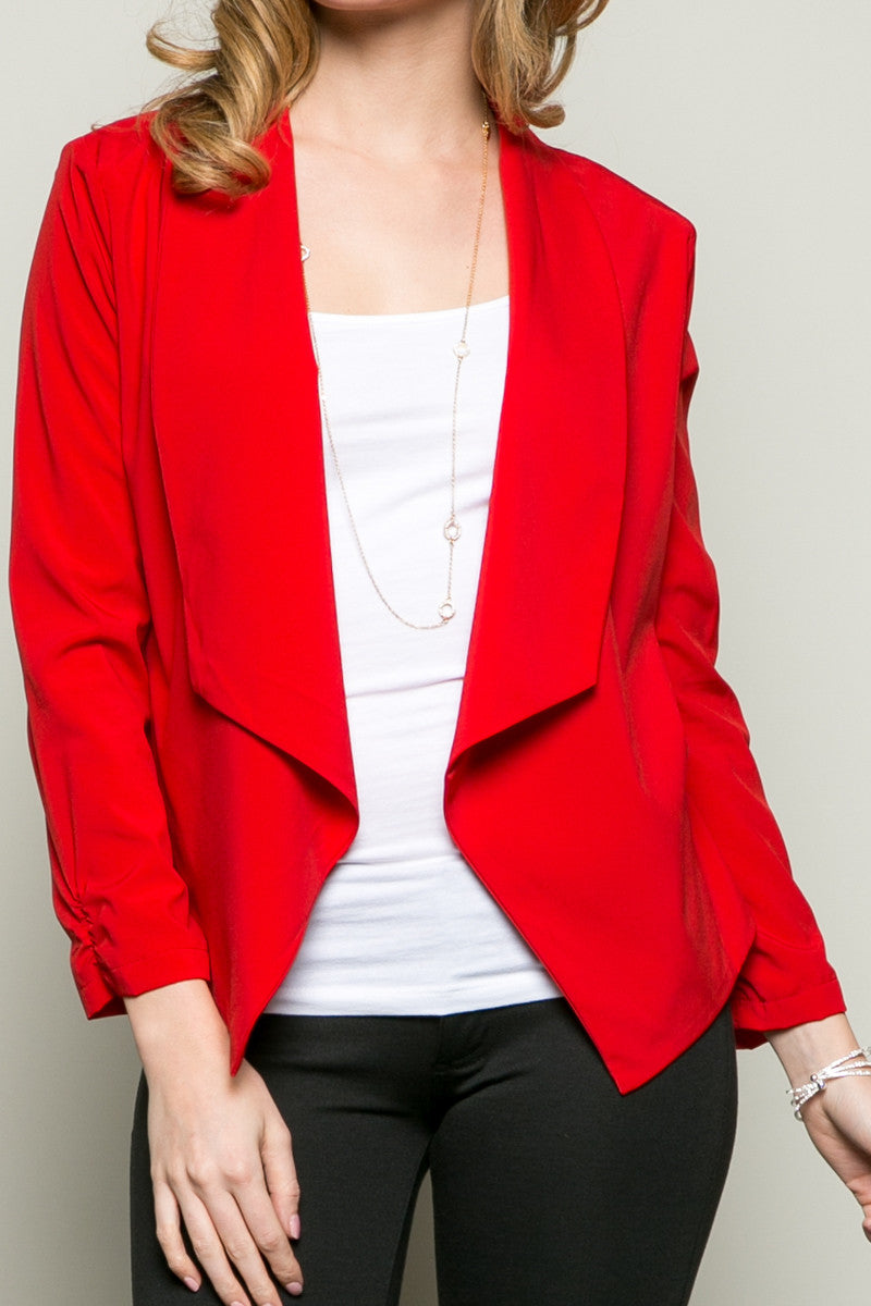 Draped Collar Blazer Red - Jacket - My Yuccie - 5