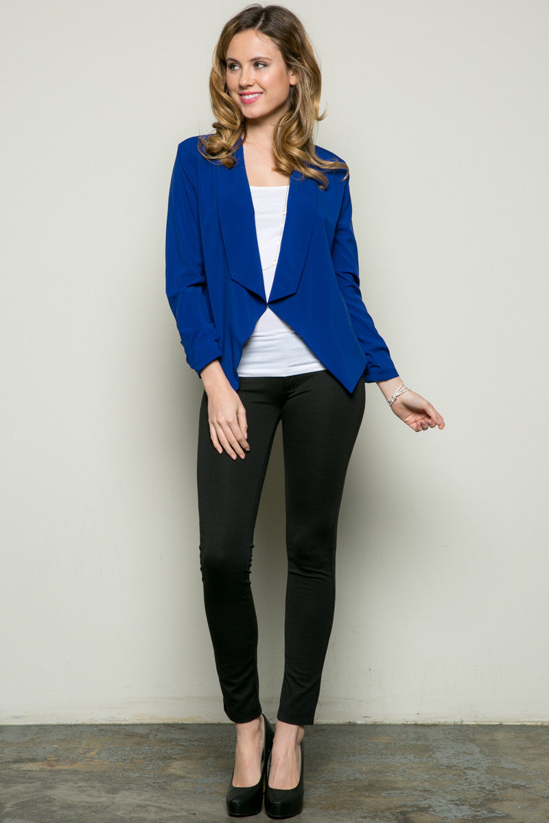 Draped Collar Blazer Royal Blue - Jacket - My Yuccie - 6