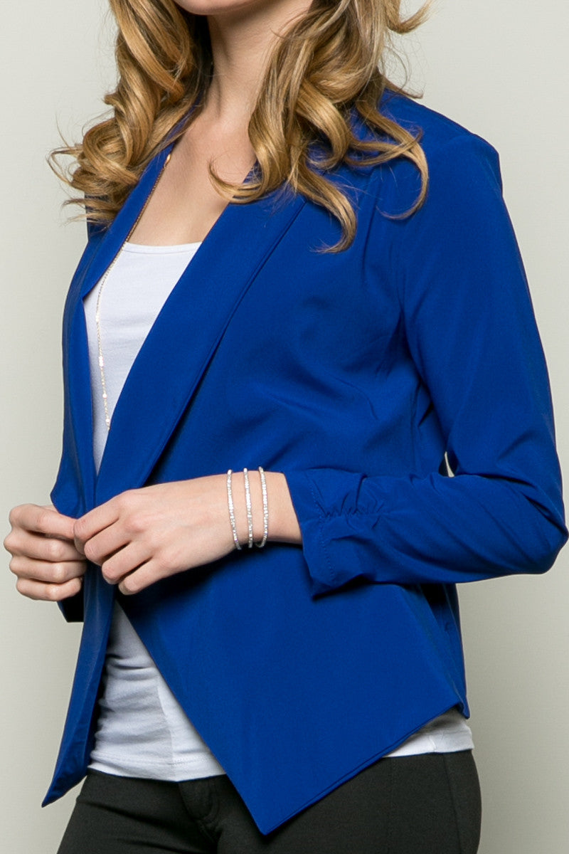 Draped Collar Blazer Royal Blue - Jacket - My Yuccie - 5