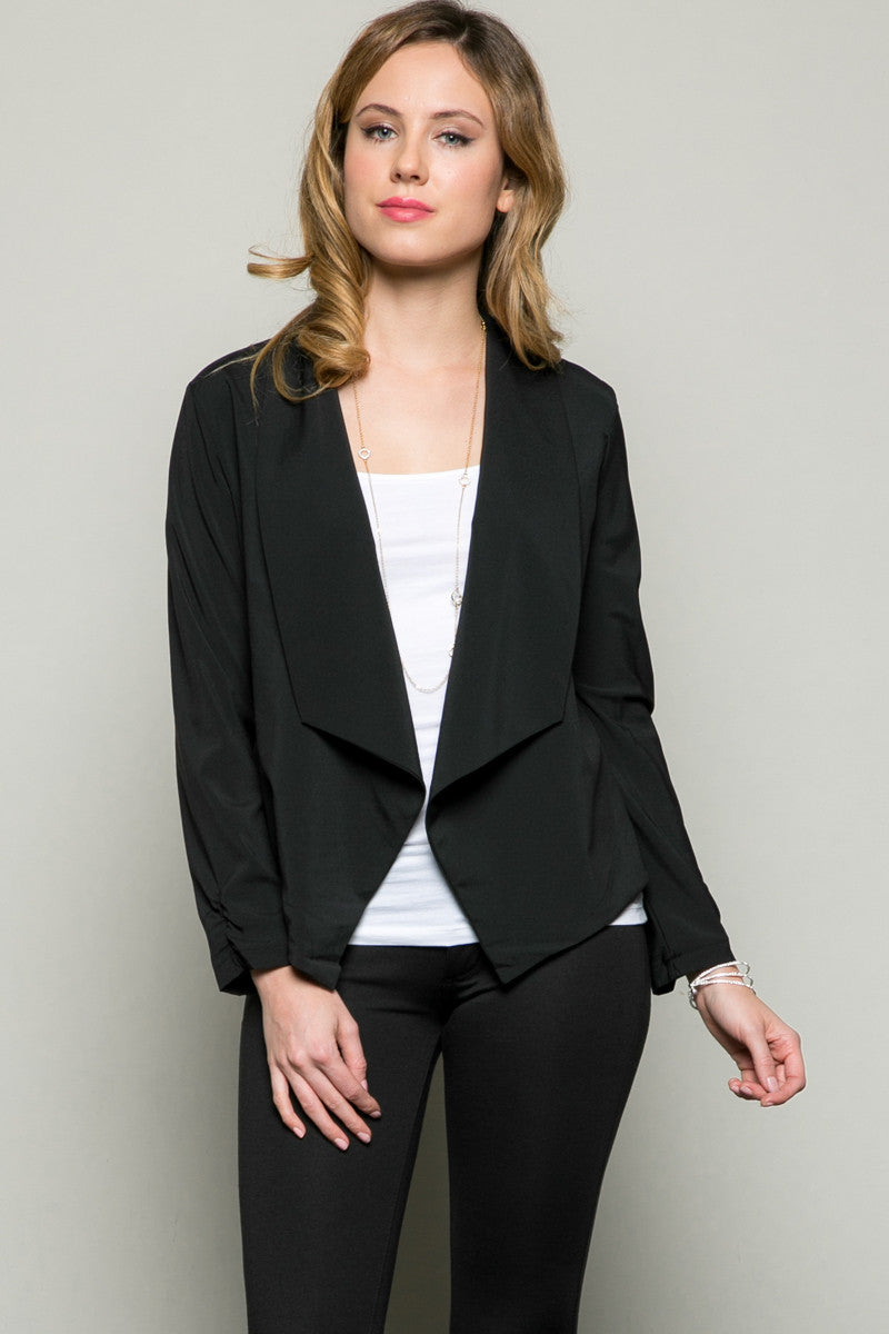 Draped Collar Blazer Black - Jacket - My Yuccie - 1