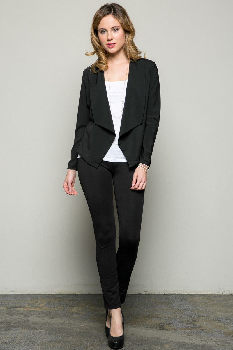 Draped Collar Blazer Black - Jacket - My Yuccie - 5