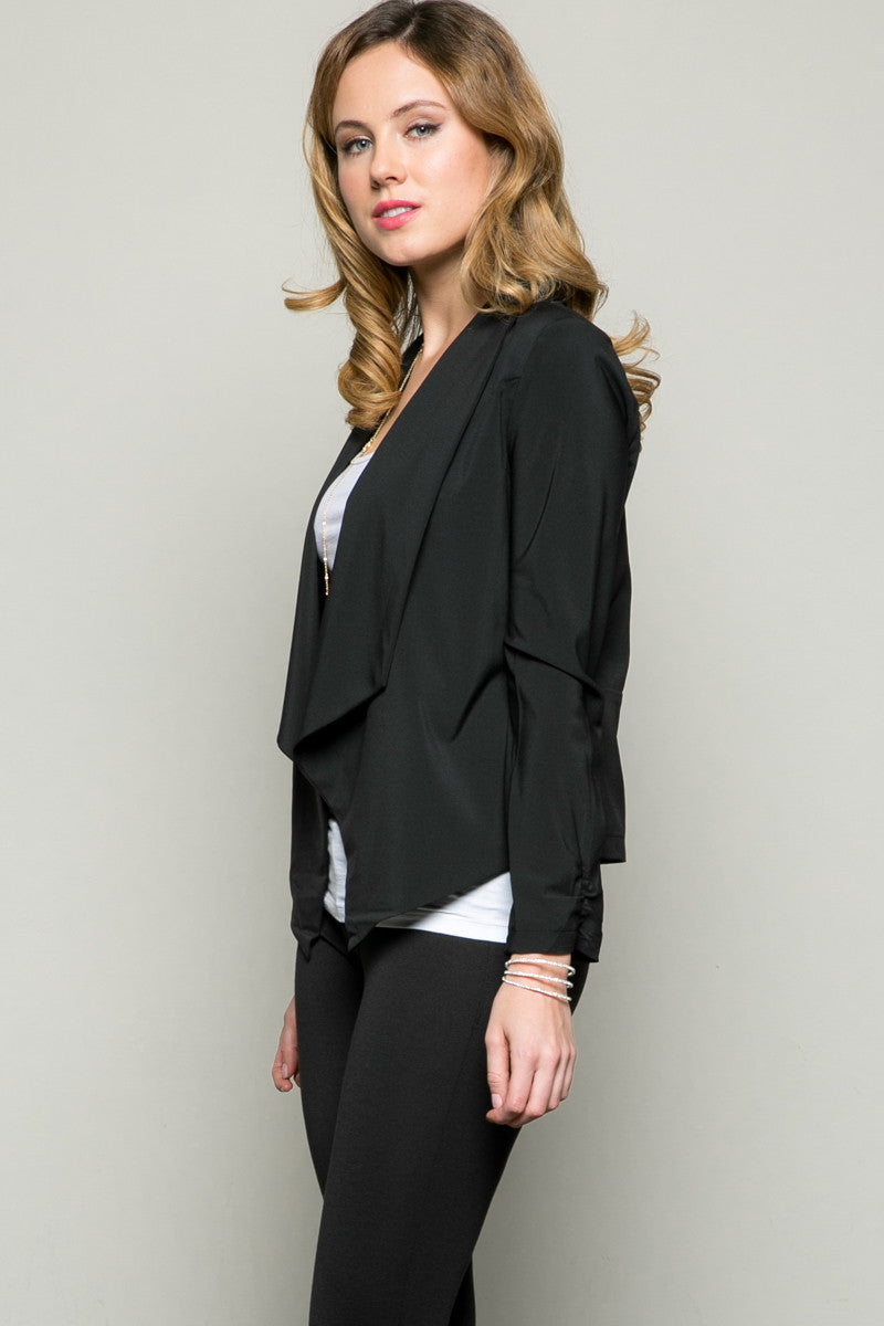 Draped Collar Blazer Black - Jacket - My Yuccie - 2