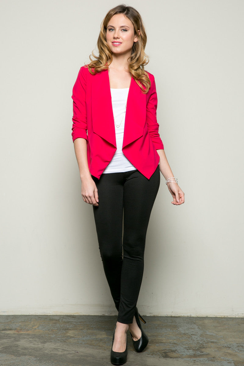 Draped Collar Blazer Pink - Jacket - My Yuccie - 5