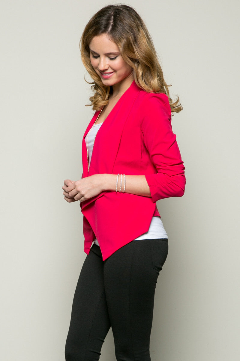 Draped Collar Blazer Pink - Jacket - My Yuccie - 1