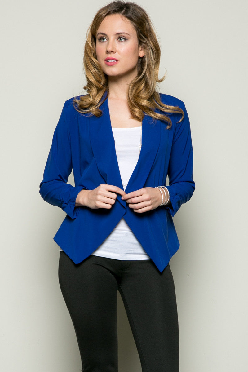 Draped Collar Blazer Royal Blue - Jacket - My Yuccie - 2