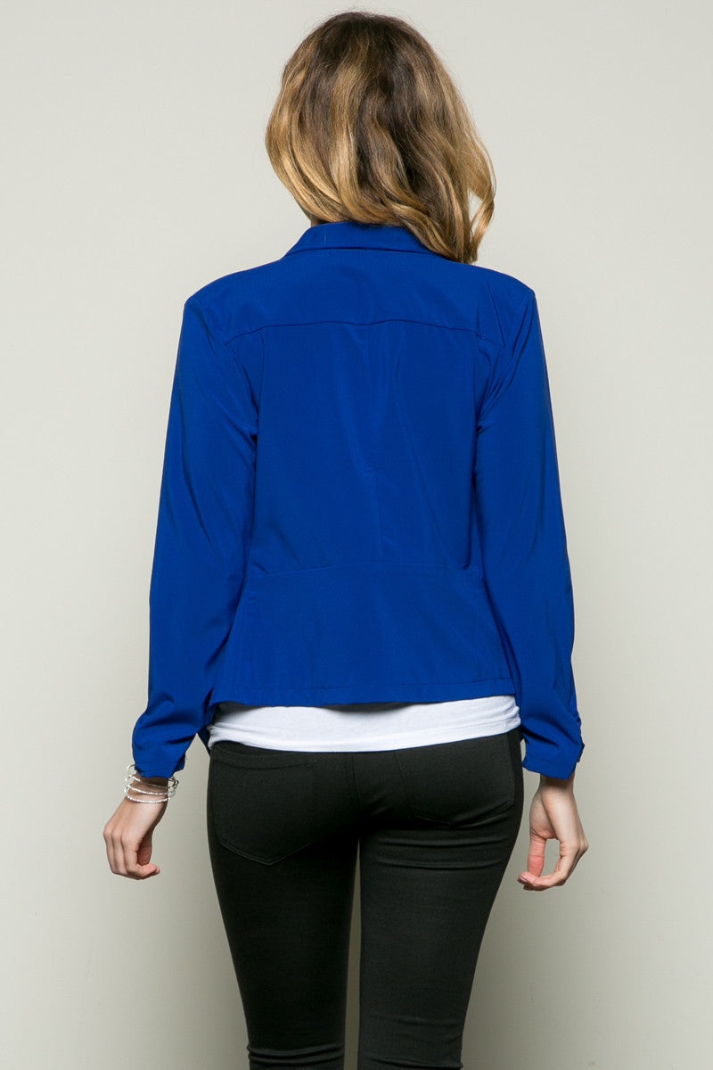 Draped Collar Blazer Royal Blue - Jacket - My Yuccie - 4
