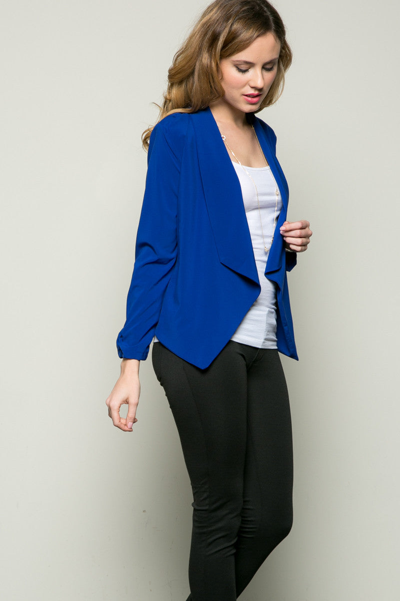Draped Collar Blazer Royal Blue - Jacket - My Yuccie - 1