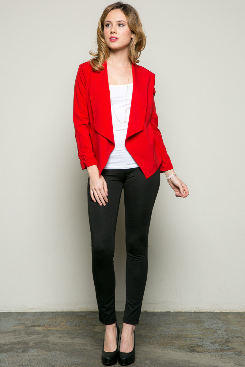 Draped Collar Blazer Red - Jacket - My Yuccie - 6