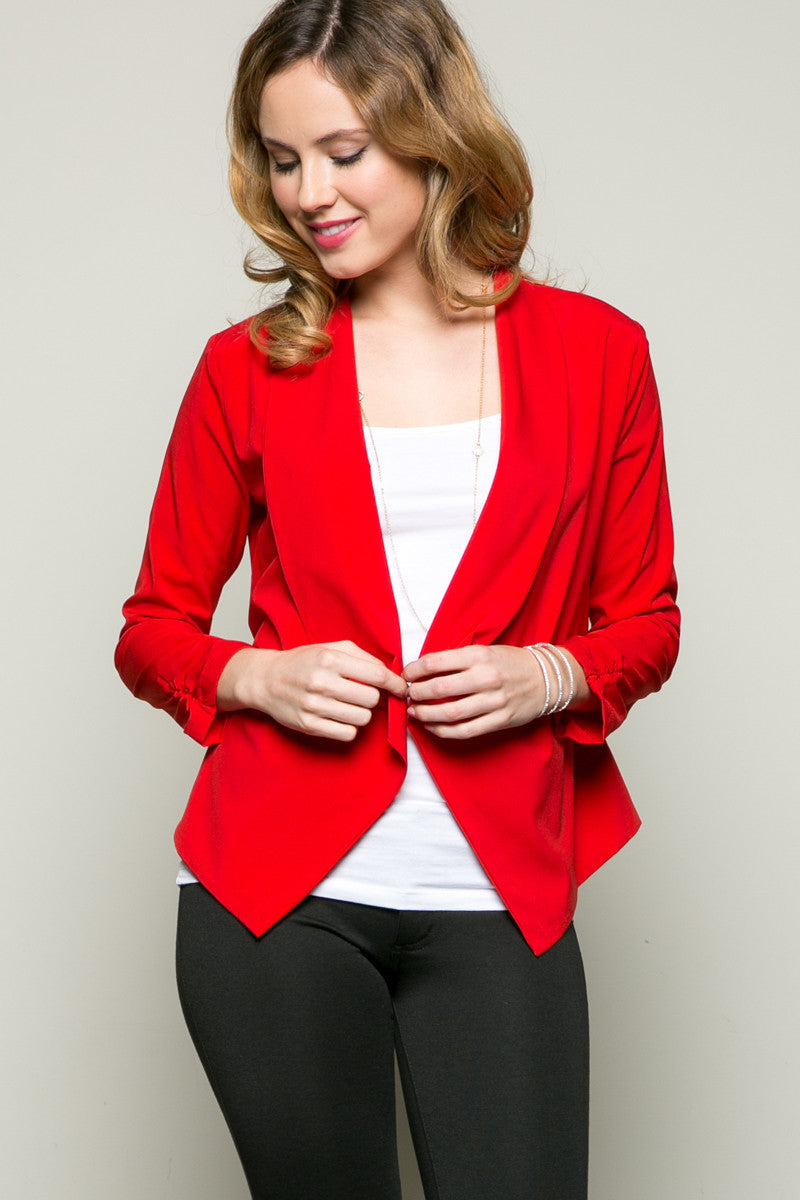 Draped Collar Blazer Red - Jacket - My Yuccie - 3