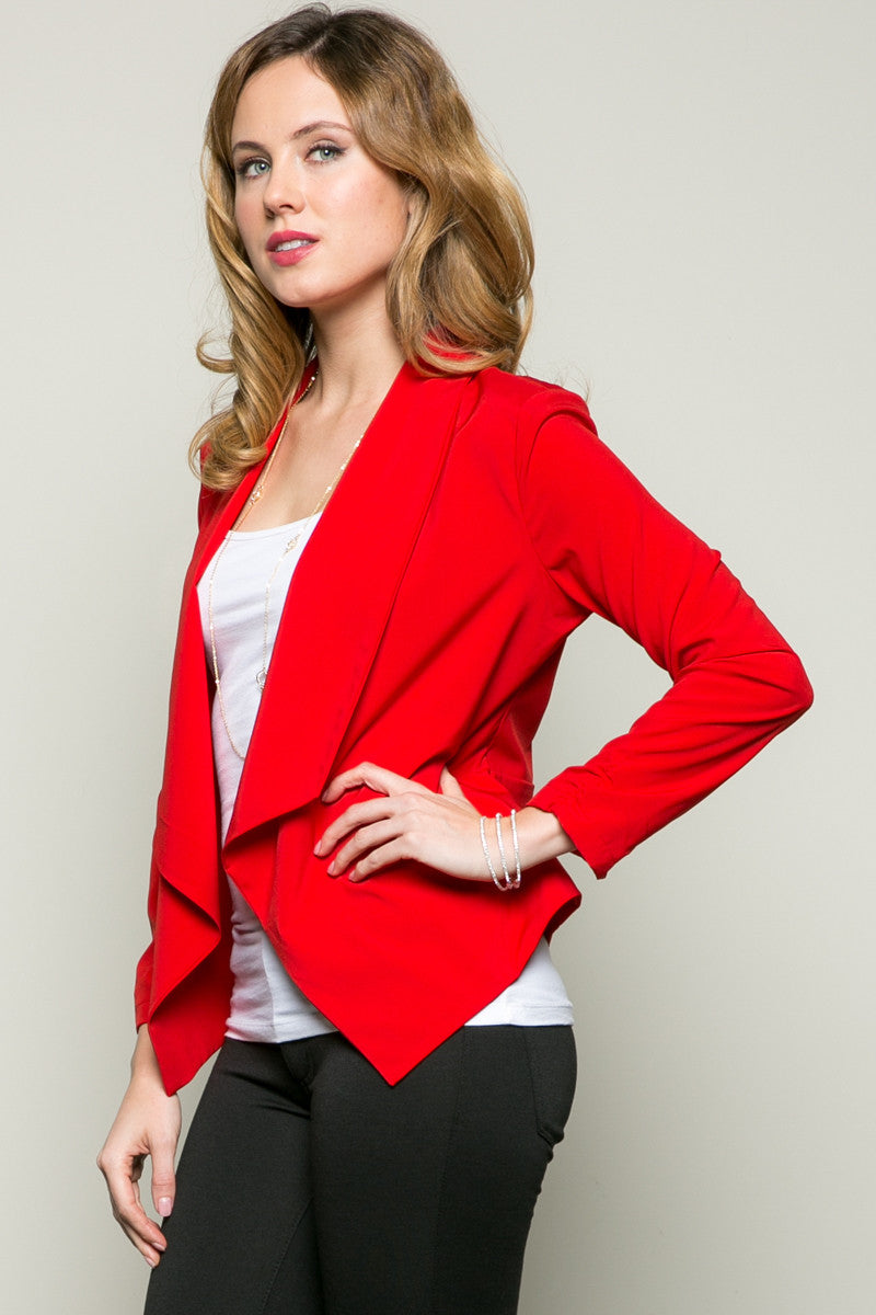 Draped Collar Blazer Red - Jacket - My Yuccie - 2