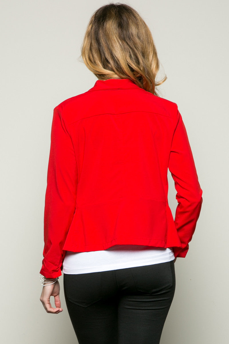 Draped Collar Blazer Red - Jacket - My Yuccie - 4