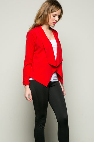 Draped Collar Blazer Red - Jacket - My Yuccie - 1