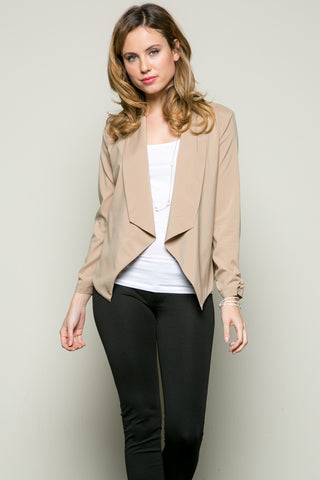 Draped Collar Blazer Taupe - Jacket - My Yuccie - 1