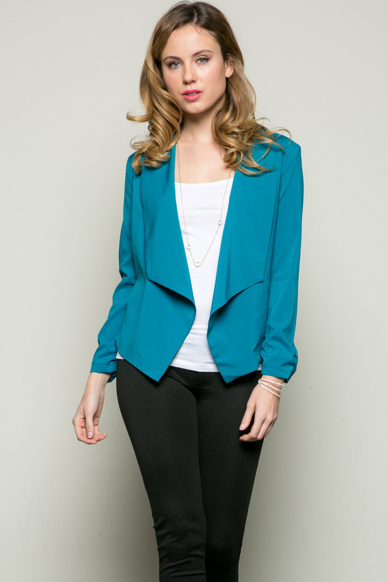 Draped Collar Blazer Turquoise - Jacket - My Yuccie - 1