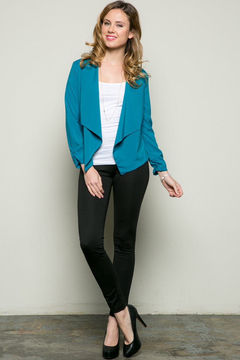 Draped Collar Blazer Turquoise - Jacket - My Yuccie - 5