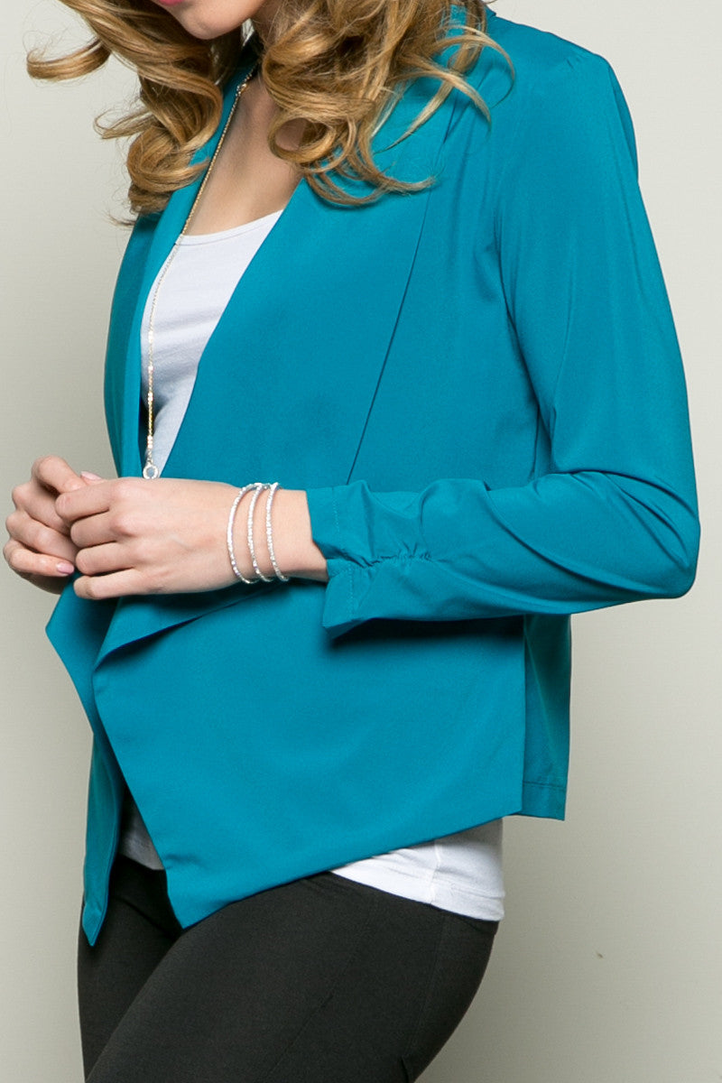 Draped Collar Blazer Turquoise - Jacket - My Yuccie - 4