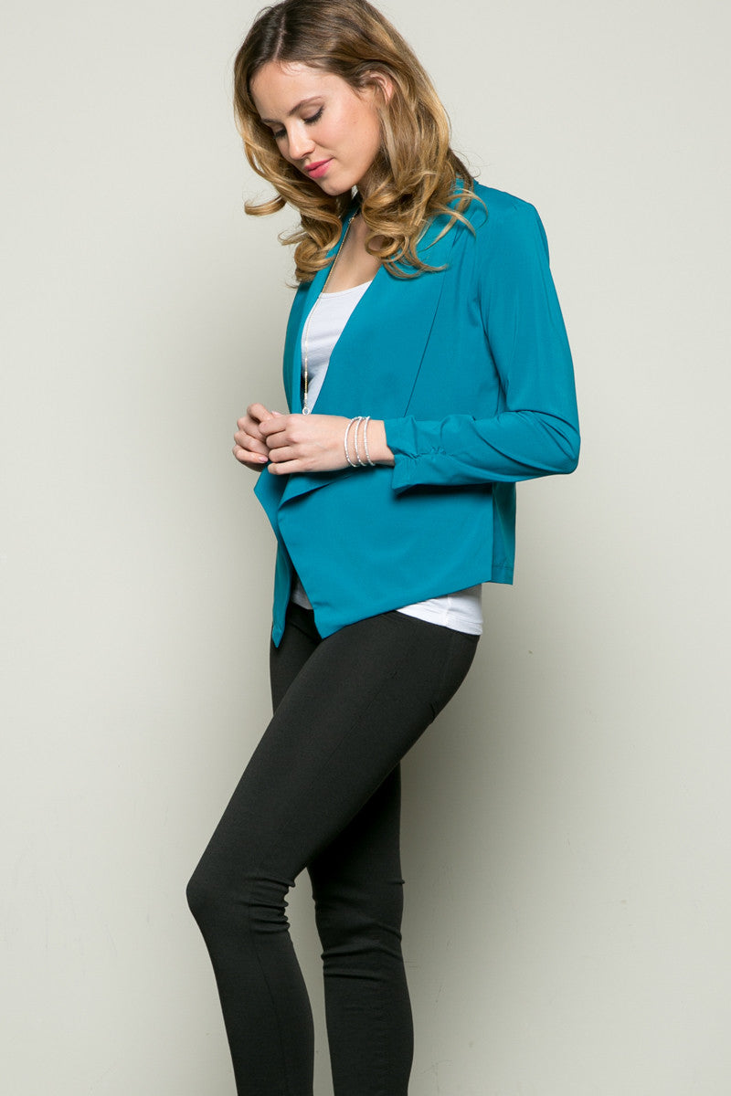 Draped Collar Blazer Turquoise - Jacket - My Yuccie - 3