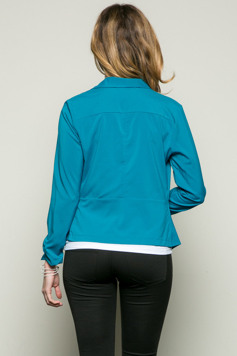 Draped Collar Blazer Turquoise - Jacket - My Yuccie - 2